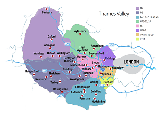 Thames Valley area map
